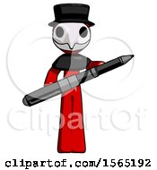 Red Plague Doctor Man Posing Confidently With Giant Pen