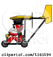 May 24th, 2018: Red Plague Doctor Man In Ultralight Aircraft Side View by Leo Blanchette
