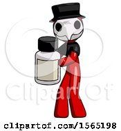 May 24th, 2018: Red Plague Doctor Man Holding White Medicine Bottle by Leo Blanchette
