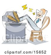 Lazy Businessman With His Feet Up On His Computer Desk And Leaning Back In His Chair While Sleeping At The Office Clipart Illustration