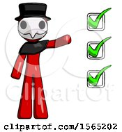 Red Plague Doctor Man Standing By List Of Checkmarks