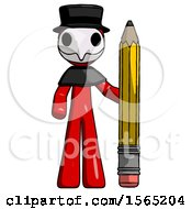 Red Plague Doctor Man With Large Pencil Standing Ready To Write
