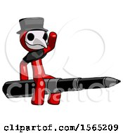 Red Plague Doctor Man Riding A Pen Like A Giant Rocket
