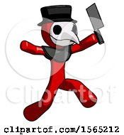 Red Plague Doctor Man Psycho Running With Meat Cleaver