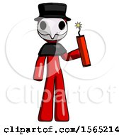 Red Plague Doctor Man Holding Dynamite With Fuse Lit