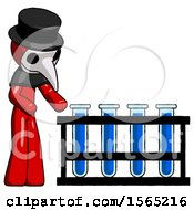 Red Plague Doctor Man Using Test Tubes Or Vials On Rack