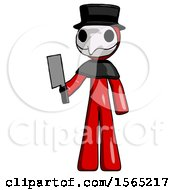 Red Plague Doctor Man Holding Meat Cleaver