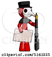 Red Plague Doctor Man Holding Large Envelope And Calligraphy Pen