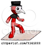 Red Plague Doctor Man On Postage Envelope Surfing