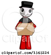Red Plague Doctor Man Holding Box Sent Or Arriving In Mail