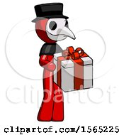 Red Plague Doctor Man Giving A Present