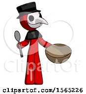 Red Plague Doctor Man With Empty Bowl And Spoon Ready To Make Something