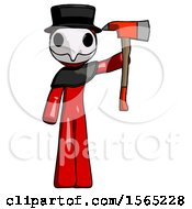 Red Plague Doctor Man Holding Up Red Firefighters Ax