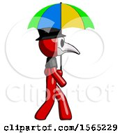 Red Plague Doctor Man Walking With Colored Umbrella