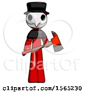Red Plague Doctor Man Holding Red Fire Fighters Ax