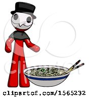 Red Plague Doctor Man And Noodle Bowl Giant Soup Restaraunt Concept