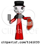 Red Plague Doctor Man Holding Large Steak With Butcher Knife