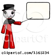 Red Plague Doctor Man Giving Presentation In Front Of Dry Erase Board