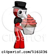 Red Plague Doctor Man Holding Large Cupcake Ready To Eat Or Serve