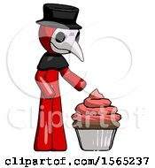 Red Plague Doctor Man With Giant Cupcake Dessert