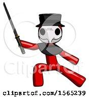 Red Plague Doctor Man With Ninja Sword Katana In Defense Pose