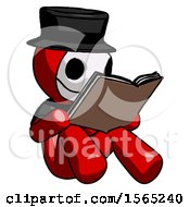 Red Plague Doctor Man Reading Book While Sitting Down
