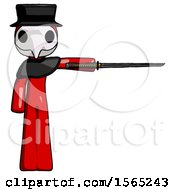 Red Plague Doctor Man Standing With Ninja Sword Katana Pointing Right