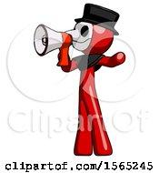 Red Plague Doctor Man Shouting Into Megaphone Bullhorn Facing Left