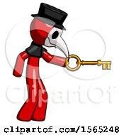 Red Plague Doctor Man With Big Key Of Gold Opening Something