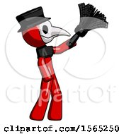 Red Plague Doctor Man Dusting With Feather Duster Upwards