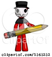 Red Plague Doctor Man Writer Or Blogger Holding Large Pencil