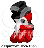 Red Plague Doctor Man Sitting With Head Down Facing Angle Left