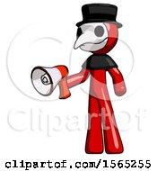 Red Plague Doctor Man Holding Megaphone Bullhorn Facing Right
