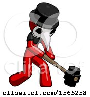 Red Plague Doctor Man Hitting With Sledgehammer Or Smashing Something At Angle