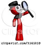 Red Plague Doctor Man Inspecting With Large Magnifying Glass Facing Up