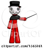 Red Plague Doctor Man Teacher Or Conductor With Stick Or Baton Directing