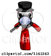 Red Plague Doctor Man Looking Down Through Magnifying Glass
