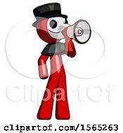 Red Plague Doctor Man Shouting Into Megaphone Bullhorn Facing Right
