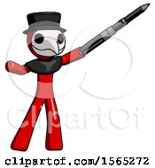 Red Plague Doctor Man Demonstrating That Indeed The Pen Is Mightier