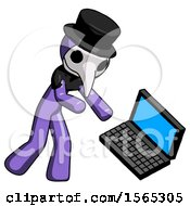 Purple Plague Doctor Man Throwing Laptop Computer In Frustration