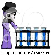 Purple Plague Doctor Man Using Test Tubes Or Vials On Rack