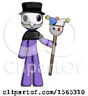 Purple Plague Doctor Man Holding Jester Staff