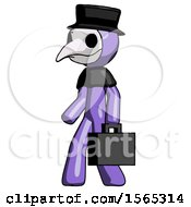 Purple Plague Doctor Man Walking With Briefcase To The Left