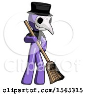 Purple Plague Doctor Man Sweeping Area With Broom