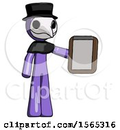 Purple Plague Doctor Man Showing Clipboard To Viewer