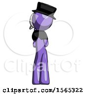 Purple Plague Doctor Man Thinking Wondering Or Pondering Rear View
