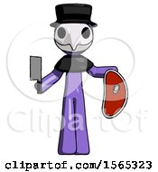 Purple Plague Doctor Man Holding Large Steak With Butcher Knife