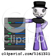 Purple Plague Doctor Man With Server Rack Leaning Confidently Against It