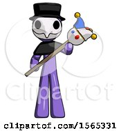 Purple Plague Doctor Man Holding Jester Diagonally