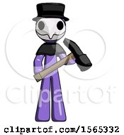 Purple Plague Doctor Man Holding Hammer Ready To Work
